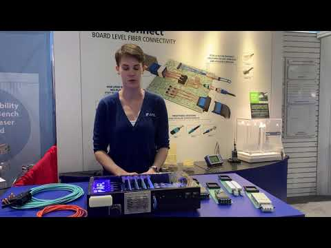 Sadie at OFC 2019 talking Board Level Connectivity Solutions