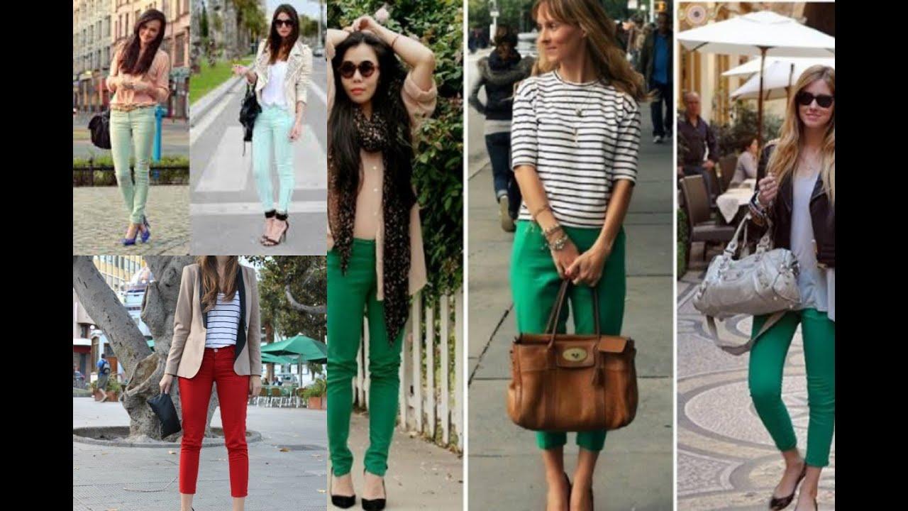 Aprende a combinar tus pantalones de colores como - Colores para combinar ...
