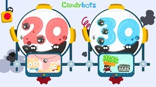 Candybots Numbers 123 - Learn counting 20 to 30 number - Education app for kids