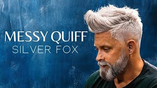 Silver fox . Messy Quif . Men`s Hairstyle Inspiration #2018