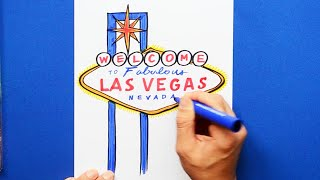 How to draw and color the Welcome to Fabulous Las Vegas sign