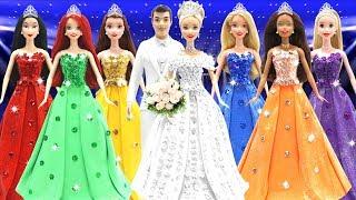 Play Doh Disney Princess Cinderella &  Charming (Wedding Outfits), Ariel, Tiana, Belle, and Mulan
