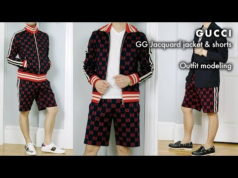 c9f47022 Gucci GG Jacquard Cotton Track Jacket & Shorts: Outfit modeling/Try-on
