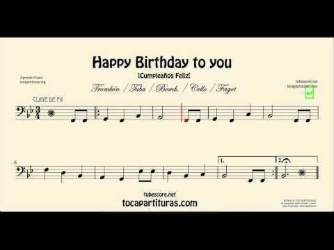 Happy Birthday Sheet Music for Cello Basson Tuba Trombone and Euphonium