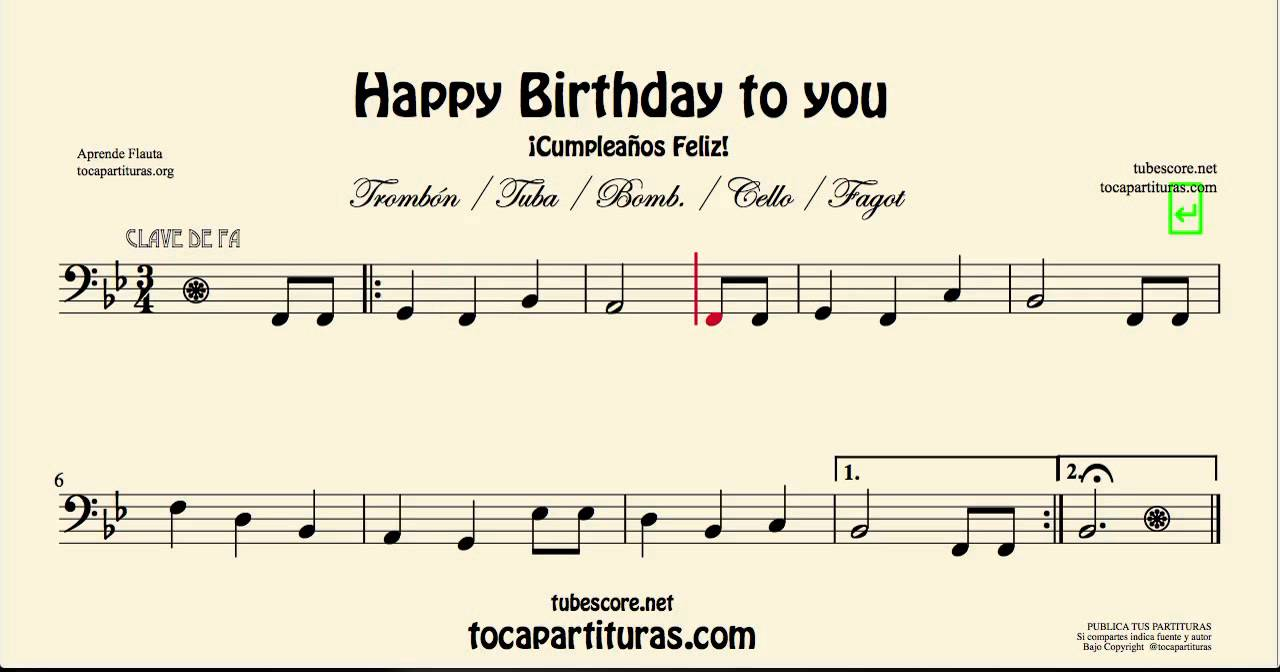 Happy Birthday Sheet Music For Cello Basson Tuba Trombone