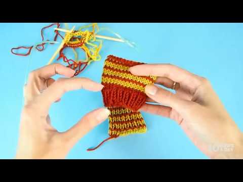 Helix Knitting - jogless one row stripes knit in the round - YouTube