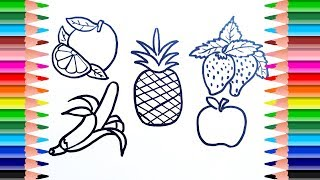 How to Draw and Paint Sweet Fruits. Fruits Coloring Pages. Art Colours for Kids