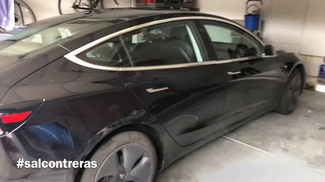 Tesla 3 dent repair quarter panel using paintless dent ...