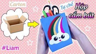 Hướng dẫn làm HỘP ĐỰNG BÚT từ giấy Carton | How to make Pen Box with carton box easy | Liam Channel