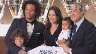 Marcelo con su familia celebrando 10 años en el Real Madrid
