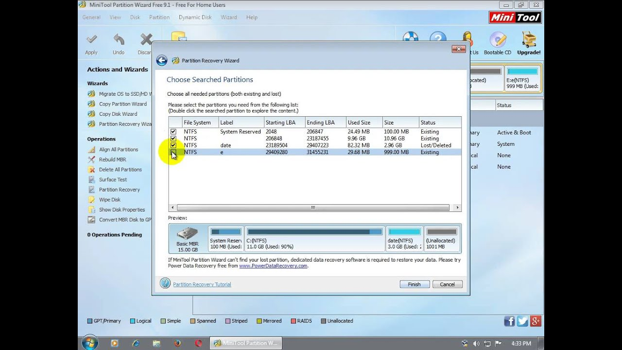 Partition recovery MiniTool Partition Wizard Free