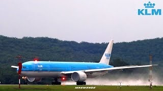 Water Spray KLM Boeing 777-306(ER) PH-BVB as KLM810 Takeoff KUL WMKK RWY32L 11122013