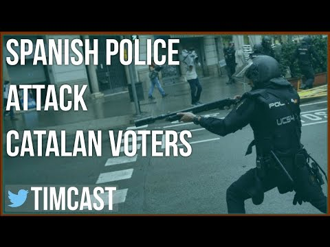 VIOLENCE IN CATALONIA AS SPANISH POLICE ATTACK REFERENDUM VOTERS