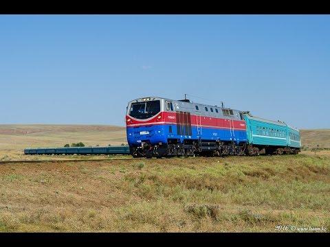 ТЭ33A-0277 с поездом №352 Защита - Алматы, Сарыозек, 27.08.16г.