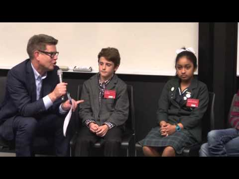 John Campbell with intermediate students -  The Civics and Media Project - 27 October 2015
