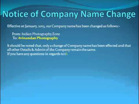 Notice of Company Name Change - YouTube