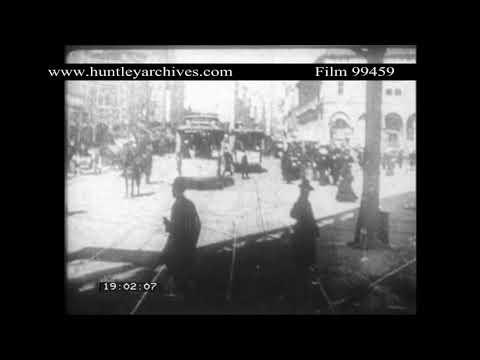 Broadway, New York, U.S.A. tram.  Archive film 99459