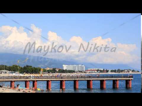 Waterfront and the mountains. Sochi, Russia. 4K