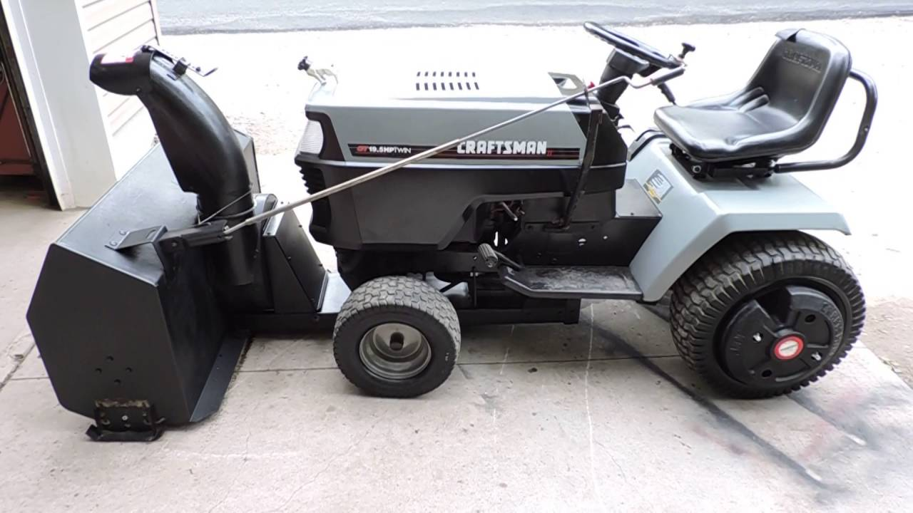 Craftsman GT6000 with snow blower finally mounted! - YouTube
