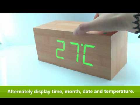 How to Use Wooden LED Digital Alarm Calendar Desk Clock ...
