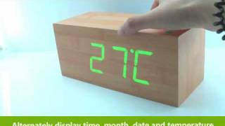 How to Use Wooden LED Digital Alarm Calendar Desk Clock