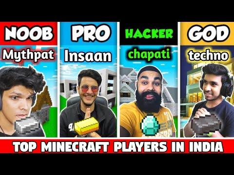 Top minecraft players in India l techno gamerz l beast boy l chapati gamer l Mythpat l live insaan