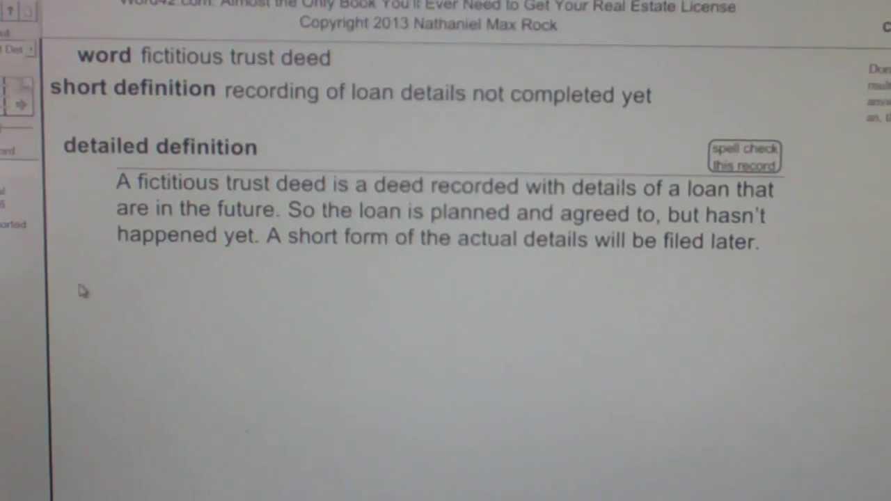 Fictitious Trust Deed CA Real Estate License Exam Top Pass Words  VocabUBee.com
