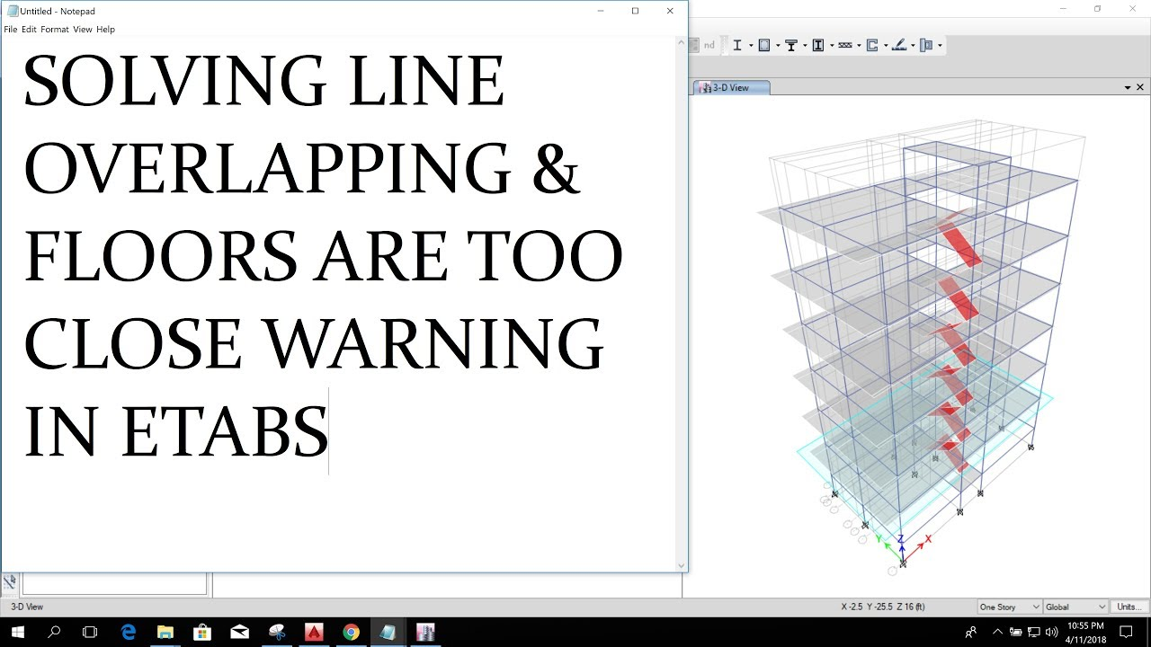 Warning In Etabs Line Overlapping And Floors Are Too Close Youtube