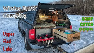 Winter Truck Camping Ręd Lake for Early Ice Walleye + Catch & Cook