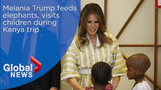 Melania Trump feeds elephants, visits children during Kenya trip