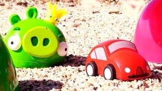 Видео про машинки, игрушечный грейдер и хрюшку. Игра для детей