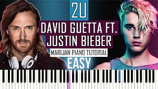 Download Mp3 How To Play: David Guetta Ft. Justin Bieber - 2u | Piano Tutorial Easy