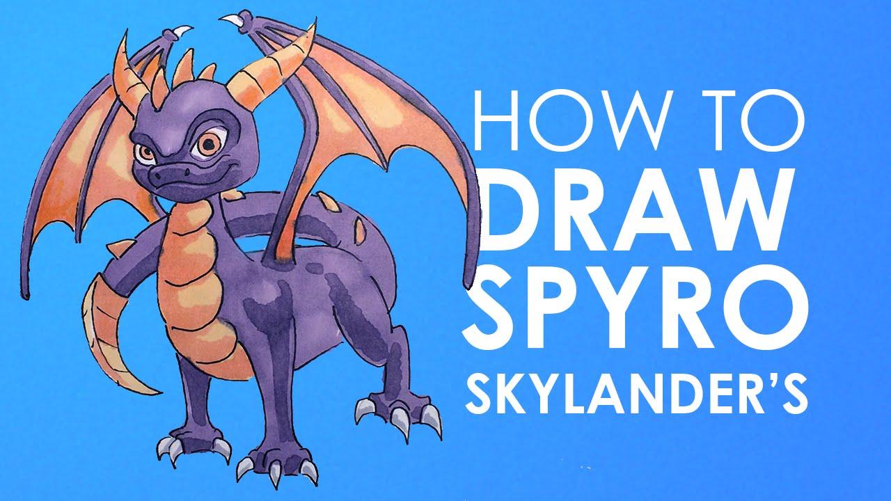 How to draw Spyro - Skylander's - YouTube