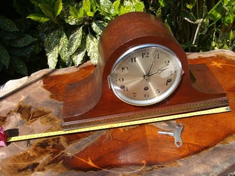 Antique Old Vintage  Platform Westminster  Mantle mantel Clock & Key See Video