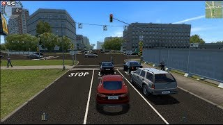 """City Car Driving """"Red Tesla Model S AUTO"""" Traffic Fast Driver Games FHD #4"""