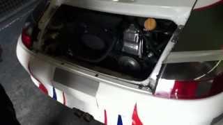 Warming up Porsche cup car