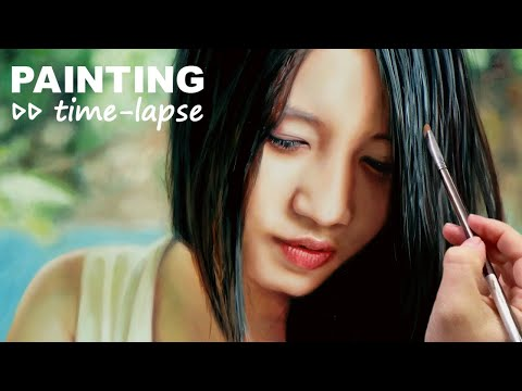 OIL PAINTING TRANSFORMATION 🎨 REALISTIC ART VIDEO - Asian beauty 🌺 Chinese girl 🌺 Japanese woman