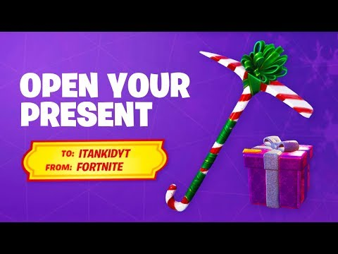 OPEN THE FREE PICKAXE PRESENT In Fortnite! (How To Get Peppermint Pickaxe)