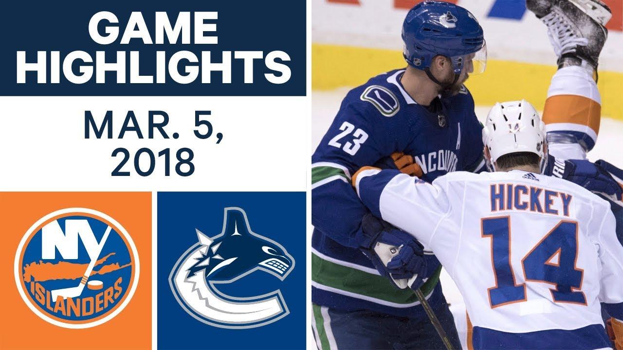 Nhl Game Highlights Islanders Vs Canucks Mar 05