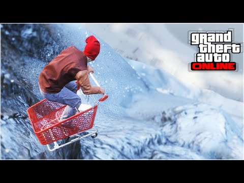 EXTREME DOWNHILL MOUNTAIN SHOPPING CART (GTA 5 Funny Moments)
