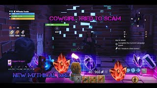 Dumb Cow girl Has *NEW* MYTHIC GUNS!! (Scammer Gets Scammed) Fortnite Save The World
