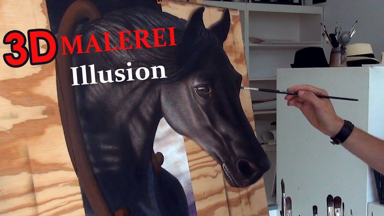 Pferd Malen In 3D Effekt/ Illusionsmalerei Anamorphose   YouTube