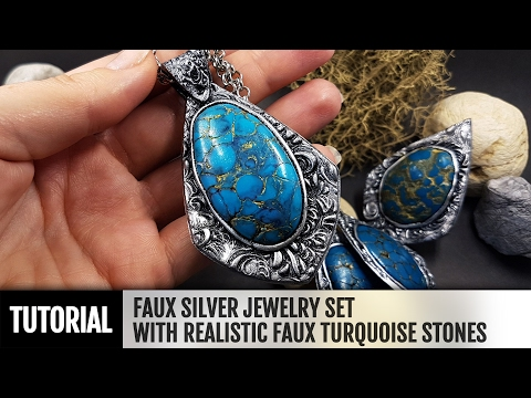 DIY How to make Faux Silver Jewelry with realistic faux Turquoise stones. Polymer clay Jewelry.