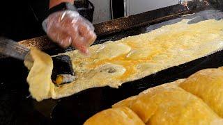 red sauce egg rolls gimbap (떡볶이 소스! 계란말이 김밥, キンパプ, 紫菜卷饭 3,000KRW) korean street food / 인천 구월동 까치네