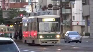 広島電鉄 夕暮れ時の800形806号車 十日市町電停付近にて 20171116