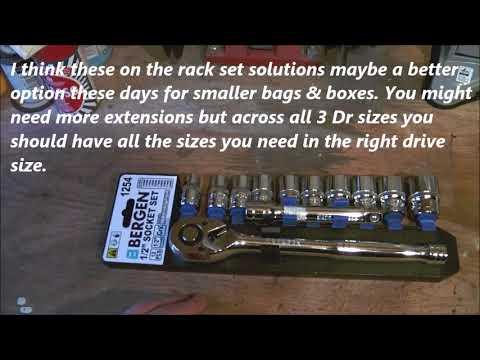 """Bergen 1/2"""" dr. Socket, Ratchet and Extension Set On Holder. No. 1254"""