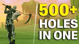 WORLD RECORD 500+ Holes in One in FORTNITE and 5,000 V-BUCK Giveaway!