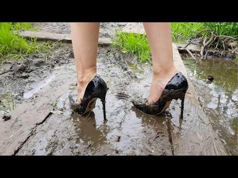 black louboutin high heels in mud high heels destruction