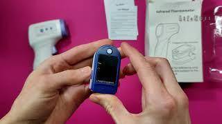 Pulsek palca Pulsoksymetr z wyświetlaczem miernikiem tlenowym /Cyfrowy termometr ciała / Unboxing
