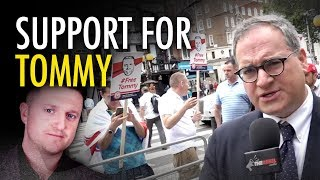 ezra levant tommy robinson supporters at courthouse